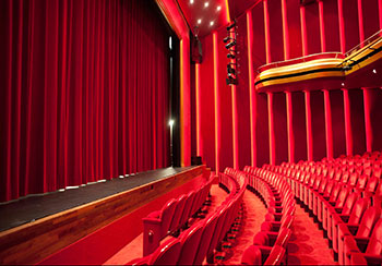 Red mohair theatre curtain