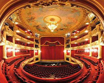 Red stage velvets used in the Opera Royal de Wallonie