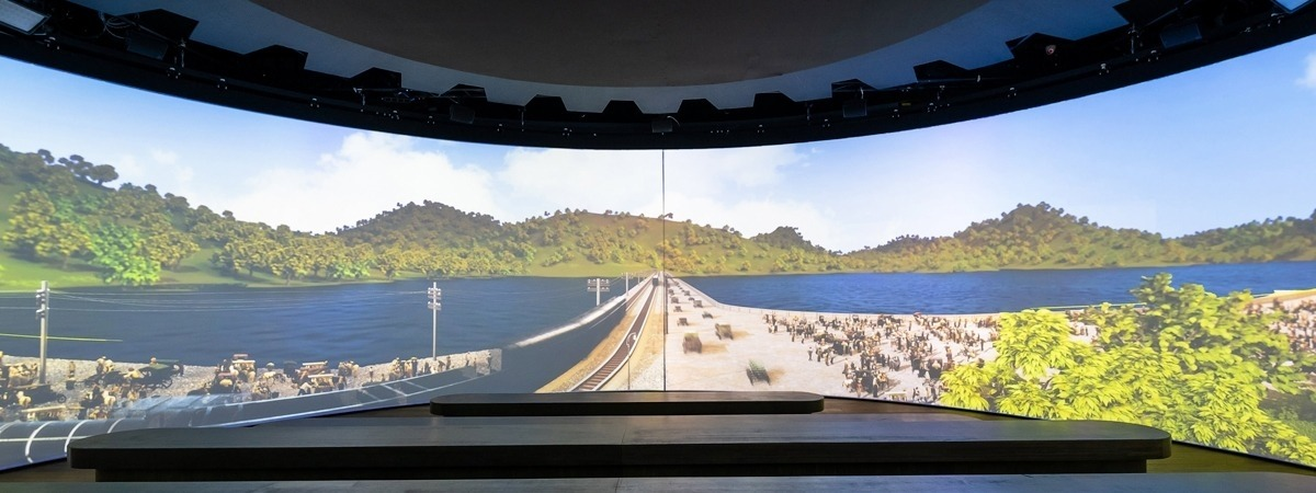 FP Supermat Perforato - front projection screen - curved track