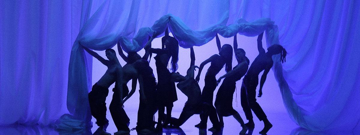 Blue backlit backdrop to dress up the Hiroshima videoclip