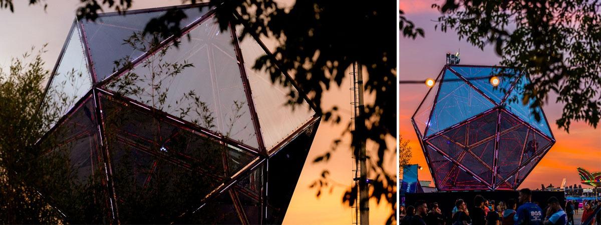 GiantMirror Icosahedron at SAGA Festival