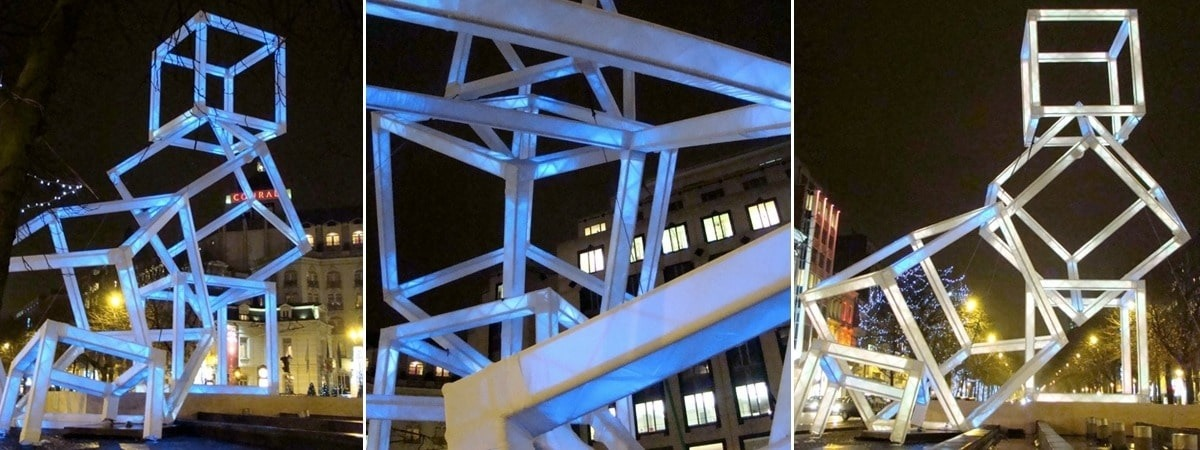 TrusSleeve truss covers used at an art installation at the Festival of Light (Belgium)