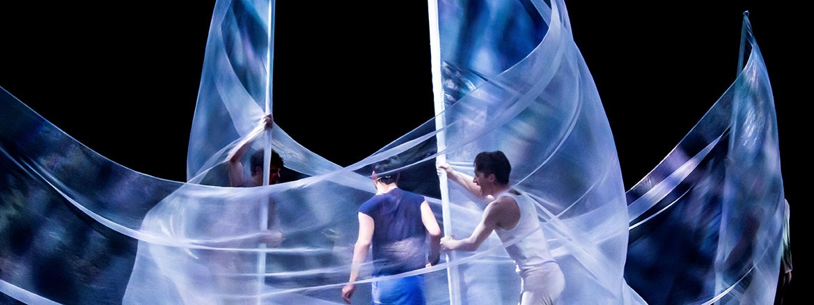 Translucent sheer stage props for a musical performance