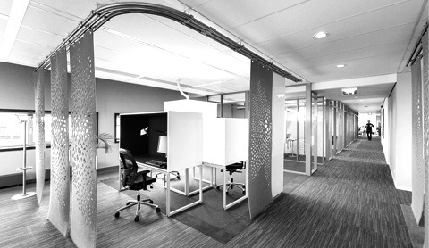 Textiles in an office space (black & white)