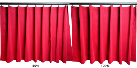 Curtain fullness 100% vs 50%