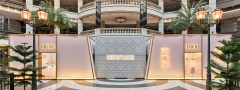 Printed translucent fabric walls for Christian Diors pop-up store
